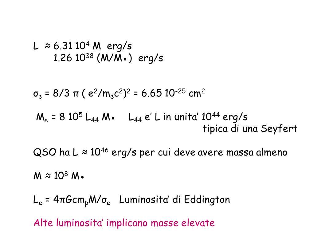 L ≈ 6.31 104 M erg/s 1.26 1038 (M/M●) erg/s. σe = 8/3 π ( e2/mec2)2 = 6.65 10-25 cm2. Me = 8 105 L44 M● L44 e' L in unita' 1044 erg/s.