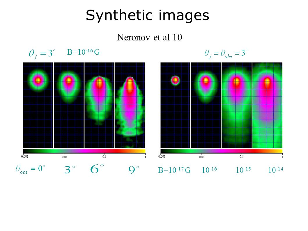 Synthetic images Neronov et al 10 B=10-16 G B=10-17 G 10-16 10-15