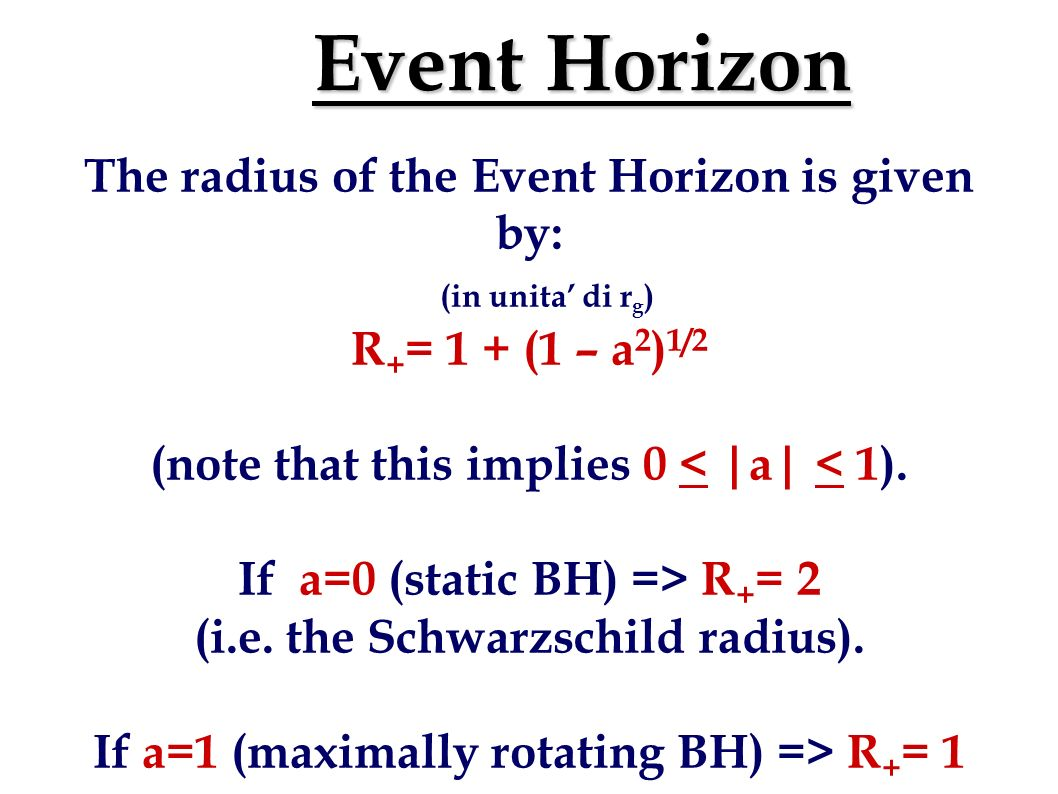 Event Horizon The radius of the Event Horizon is given by: