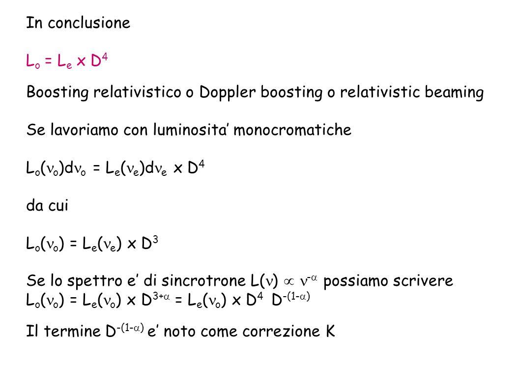 In conclusione Lo = Le x D4. Boosting relativistico o Doppler boosting o relativistic beaming. Se lavoriamo con luminosita' monocromatiche.