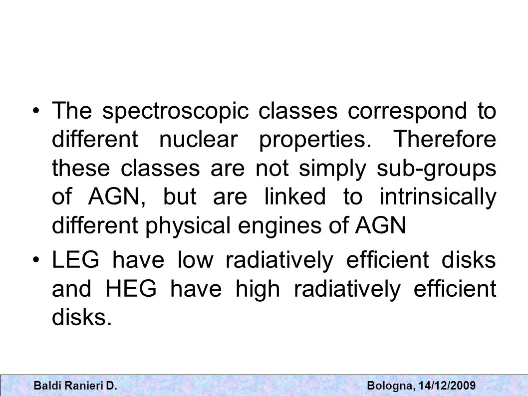 The spectroscopic classes correspond to different nuclear properties