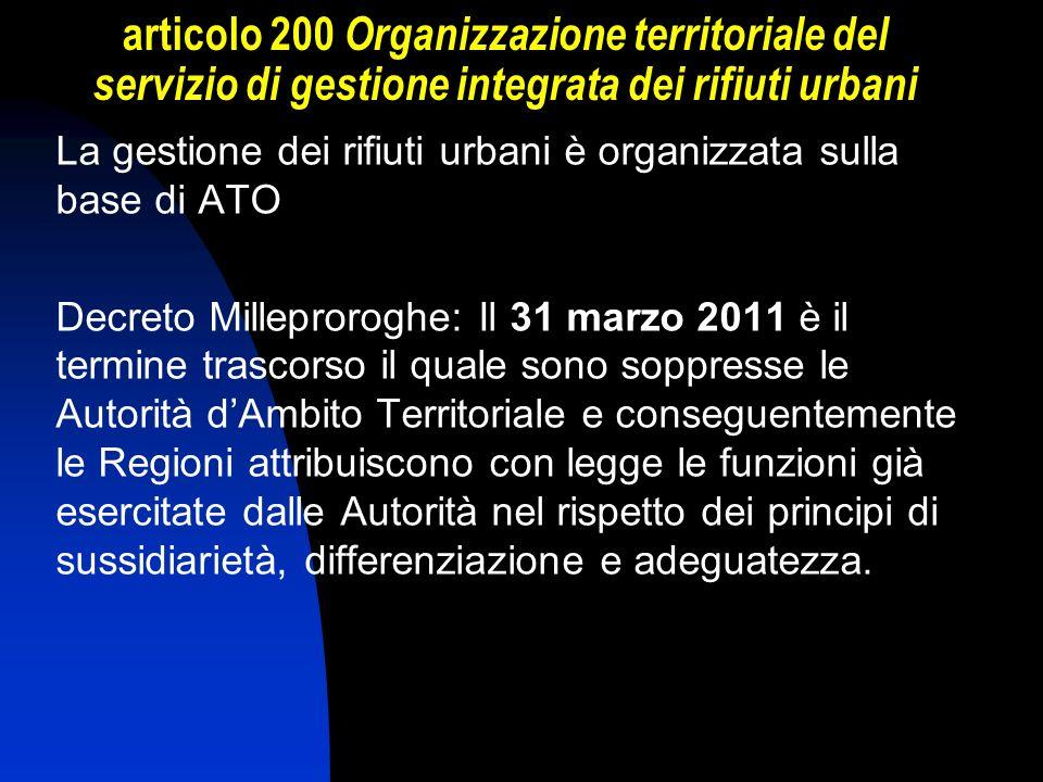 articolo 200 Organizzazione territoriale del servizio di gestione integrata dei rifiuti urbani