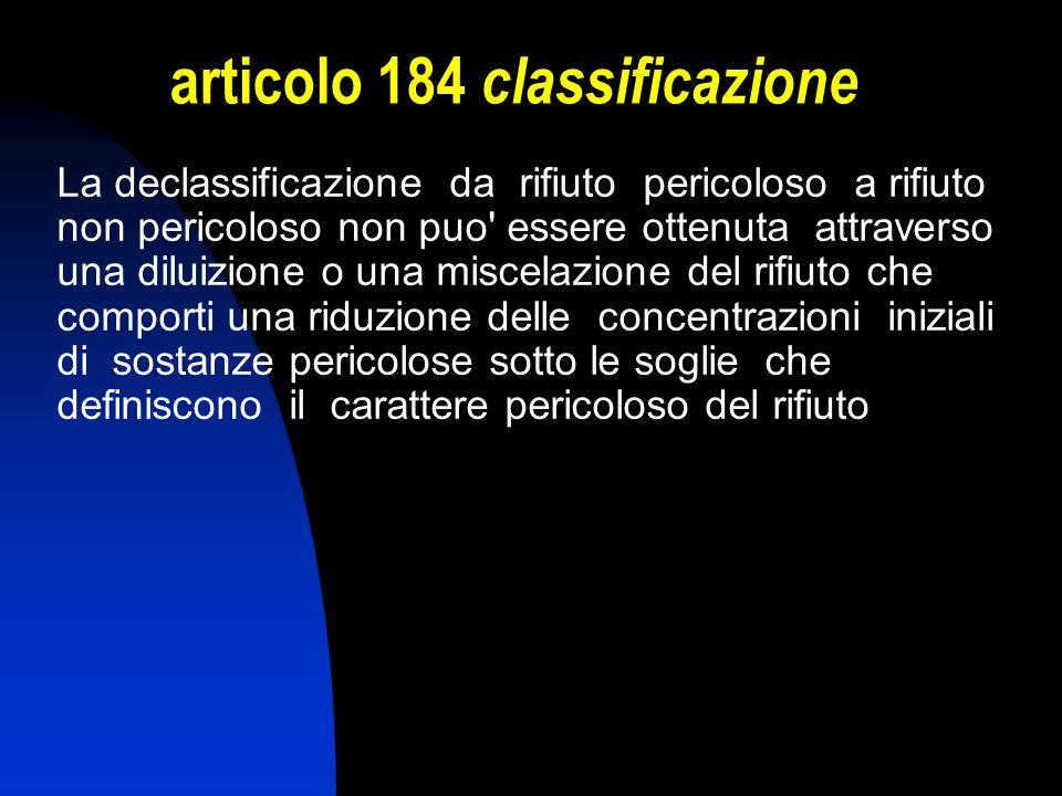 articolo 184 classificazione