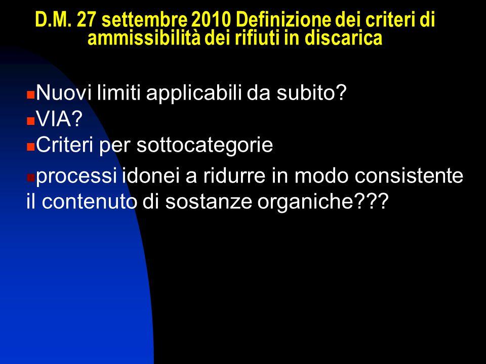 D.M. 27 settembre 2010 Definizione dei criteri di ammissibilità dei rifiuti in discarica