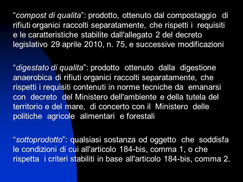 compost di qualita : prodotto, ottenuto dal compostaggio di rifiuti organici raccolti separatamente, che rispetti i requisiti e le caratteristiche stabilite dall allegato 2 del decreto legislativo 29 aprile 2010, n. 75, e successive modificazioni