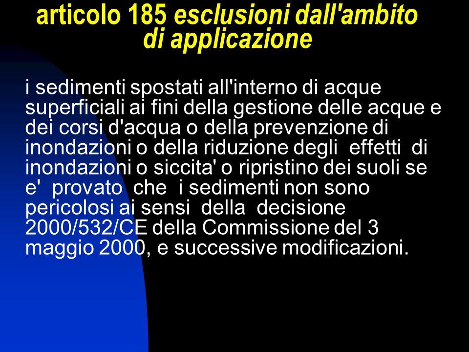 articolo 185 esclusioni dall ambito di applicazione