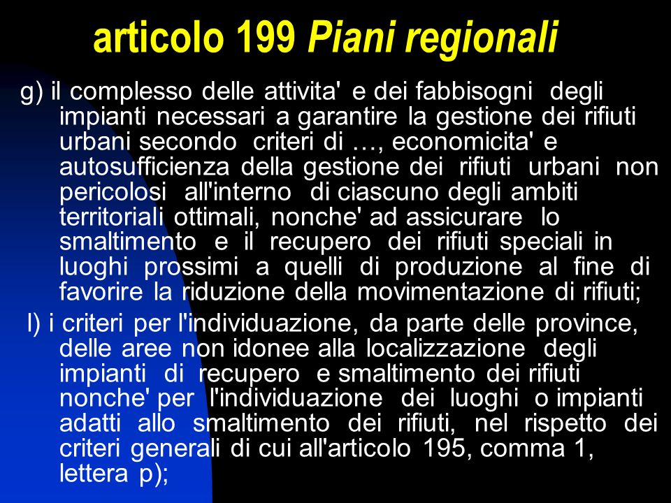 articolo 199 Piani regionali