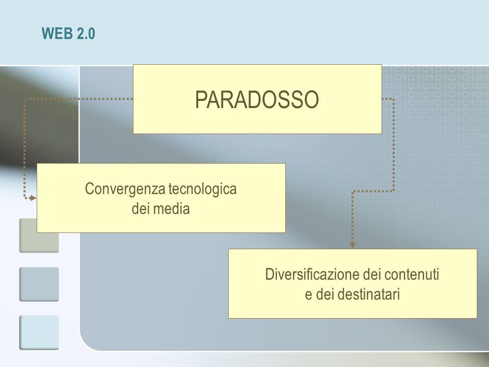 PARADOSSO WEB 2.0 Convergenza tecnologica dei media