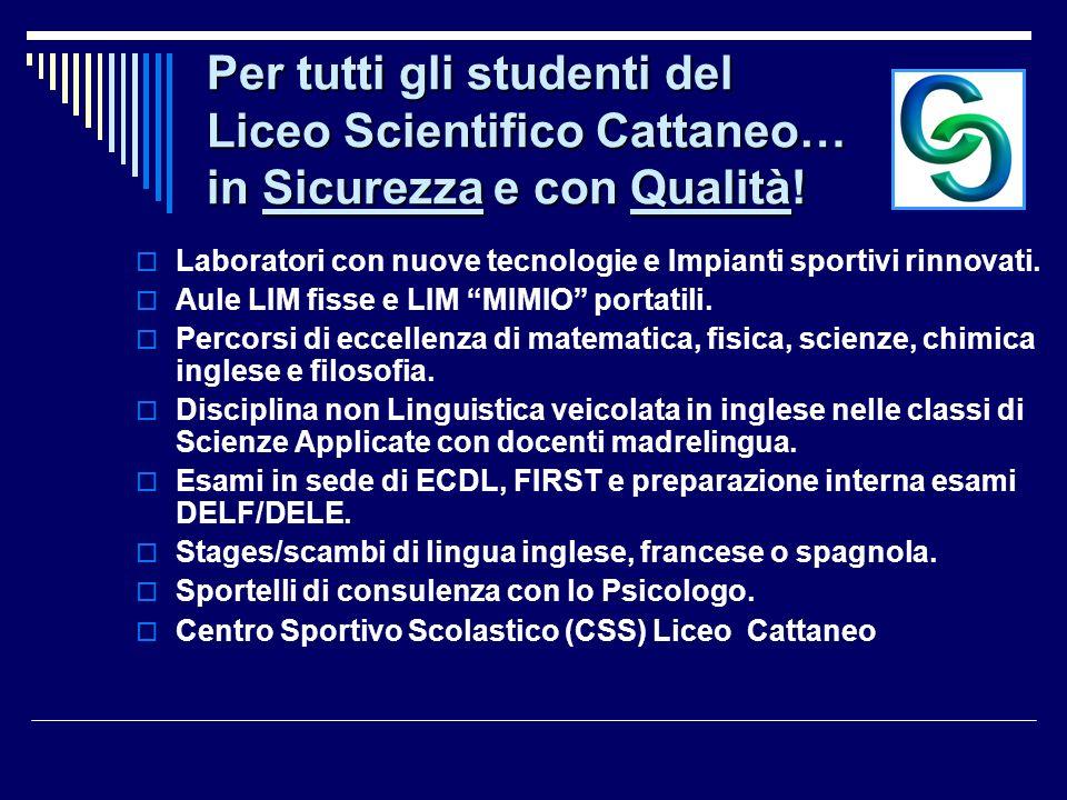 Per tutti gli studenti del Liceo Scientifico Cattaneo… in Sicurezza e con Qualità!