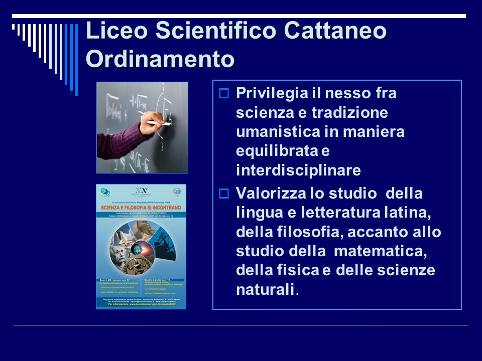 Liceo Scientifico Cattaneo Ordinamento