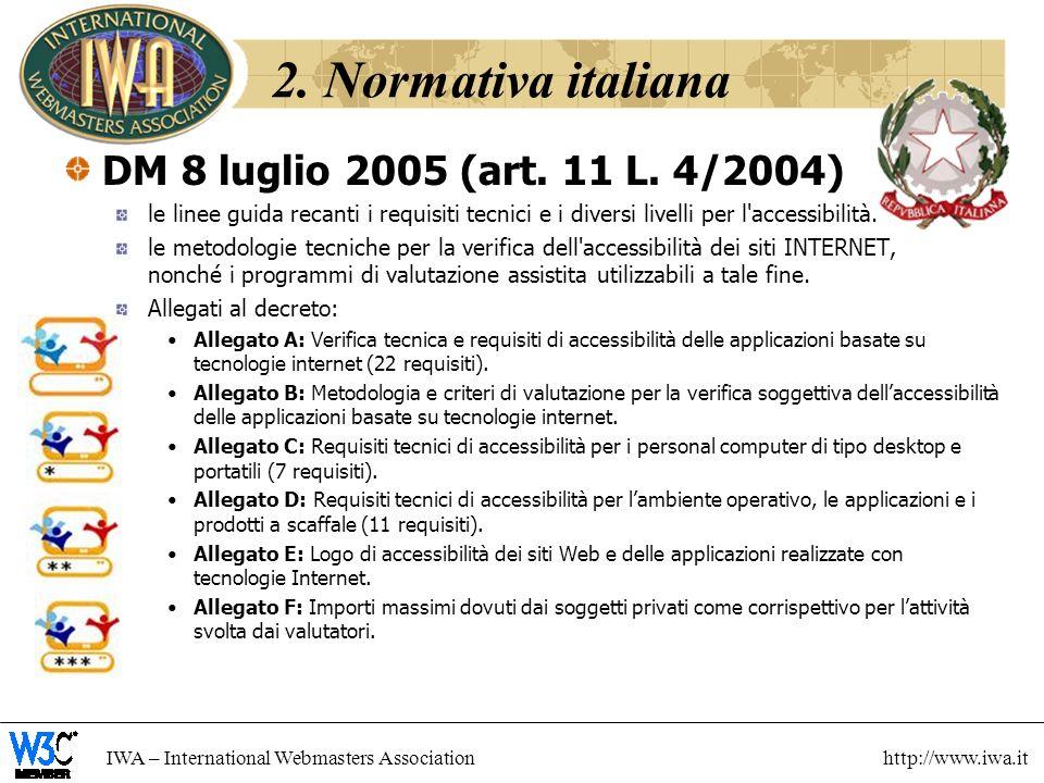 2. Normativa italiana DM 8 luglio 2005 (art. 11 L. 4/2004)