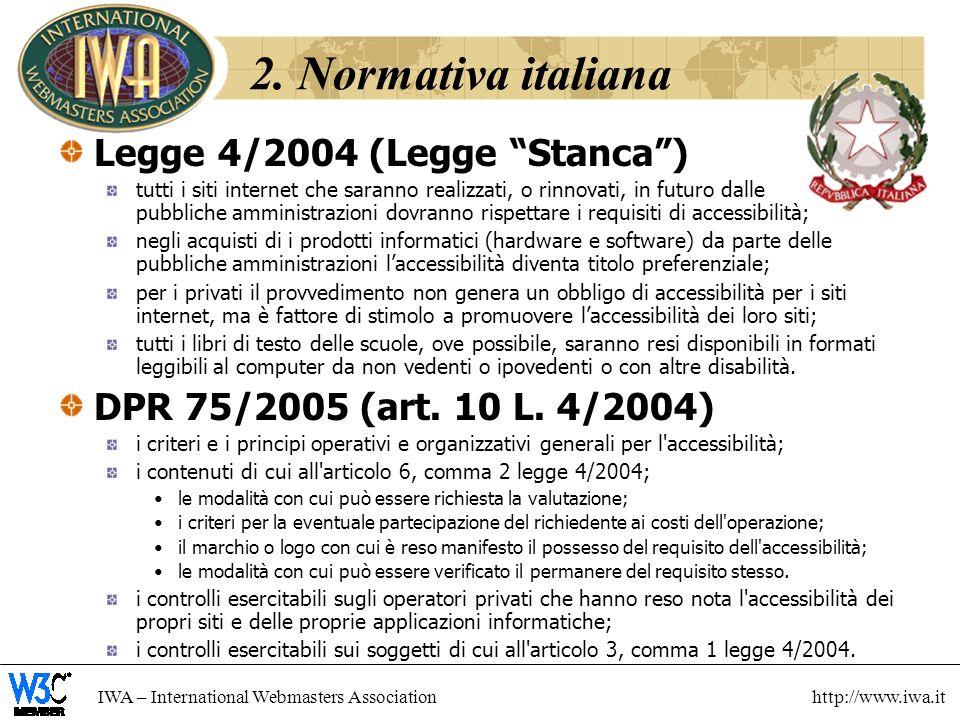 2. Normativa italiana Legge 4/2004 (Legge Stanca )