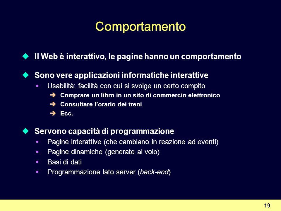 Comportamento Il Web è interattivo, le pagine hanno un comportamento