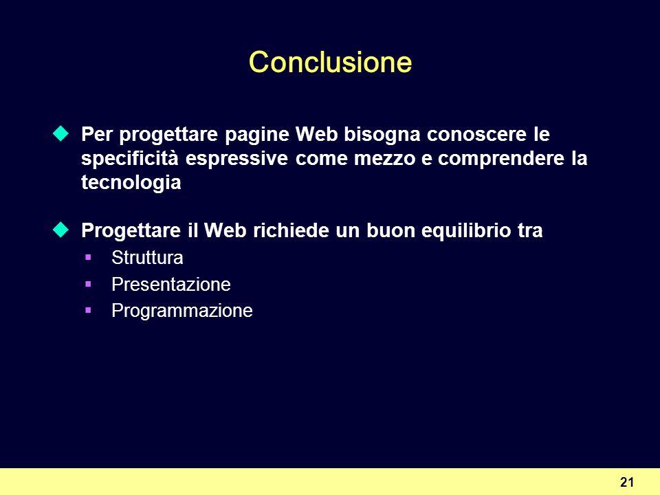 Conclusione Per progettare pagine Web bisogna conoscere le specificità espressive come mezzo e comprendere la tecnologia.