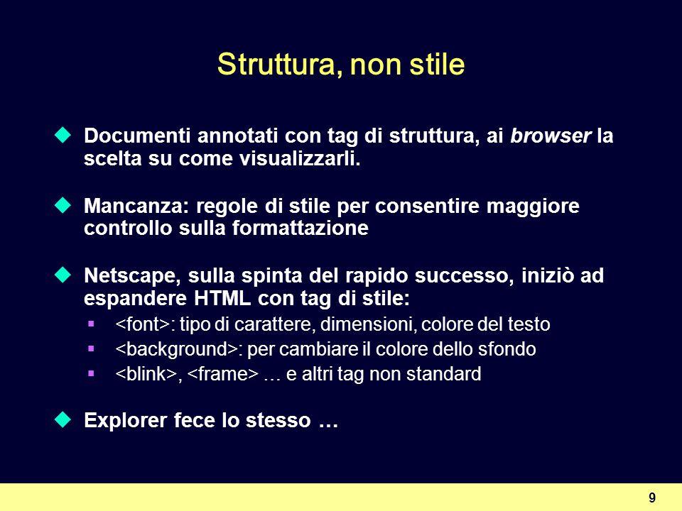 Struttura, non stile Documenti annotati con tag di struttura, ai browser la scelta su come visualizzarli.