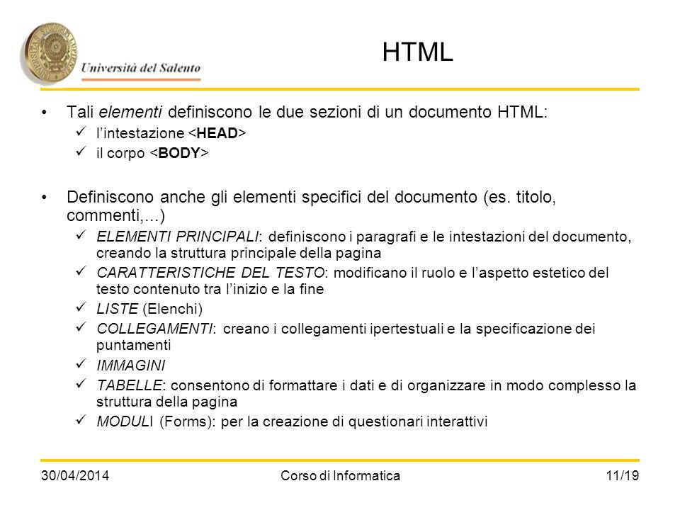 HTML Tali elementi definiscono le due sezioni di un documento HTML:
