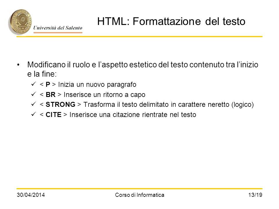 HTML: Formattazione del testo