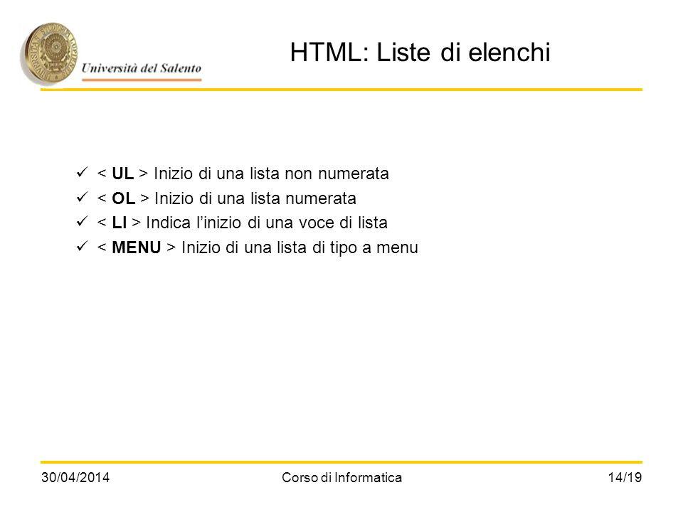 HTML: Liste di elenchi < UL > Inizio di una lista non numerata