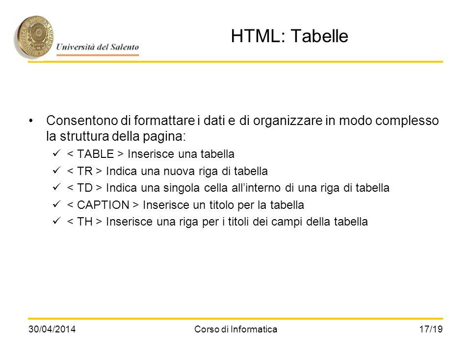 HTML: Tabelle Consentono di formattare i dati e di organizzare in modo complesso la struttura della pagina: