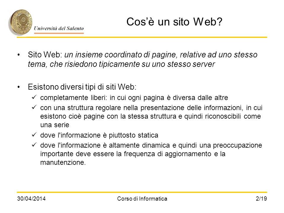 Cos'è un sito Web Sito Web: un insieme coordinato di pagine, relative ad uno stesso tema, che risiedono tipicamente su uno stesso server.