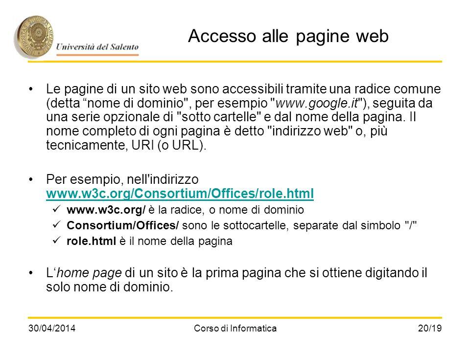 Accesso alle pagine web