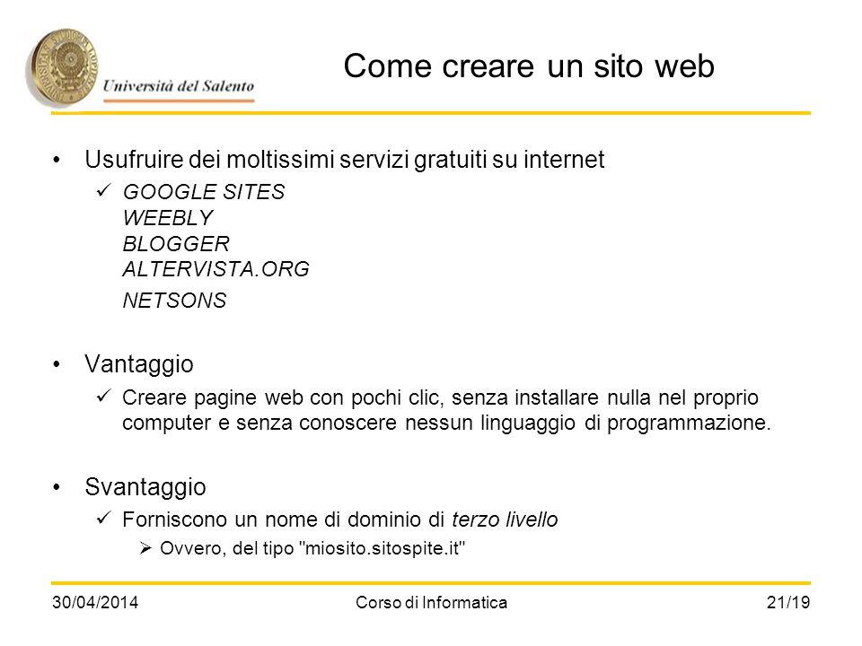 Come creare un sito web Usufruire dei moltissimi servizi gratuiti su internet. GOOGLE SITES WEEBLY BLOGGER ALTERVISTA.ORG.