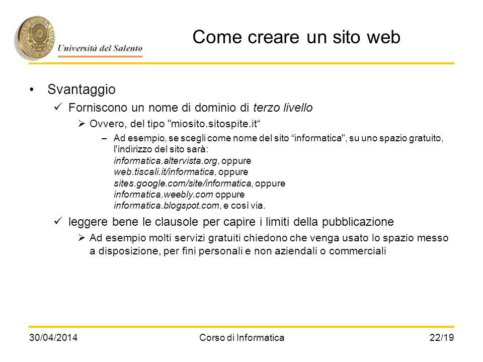 Come creare un sito web Svantaggio