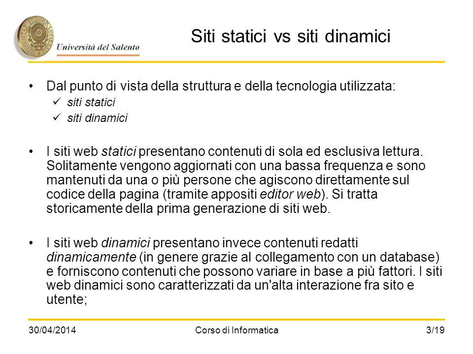 Siti statici vs siti dinamici
