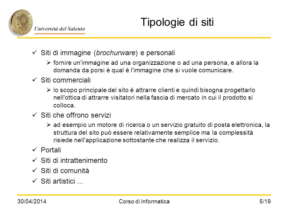Tipologie di siti Siti di immagine (brochurware) e personali
