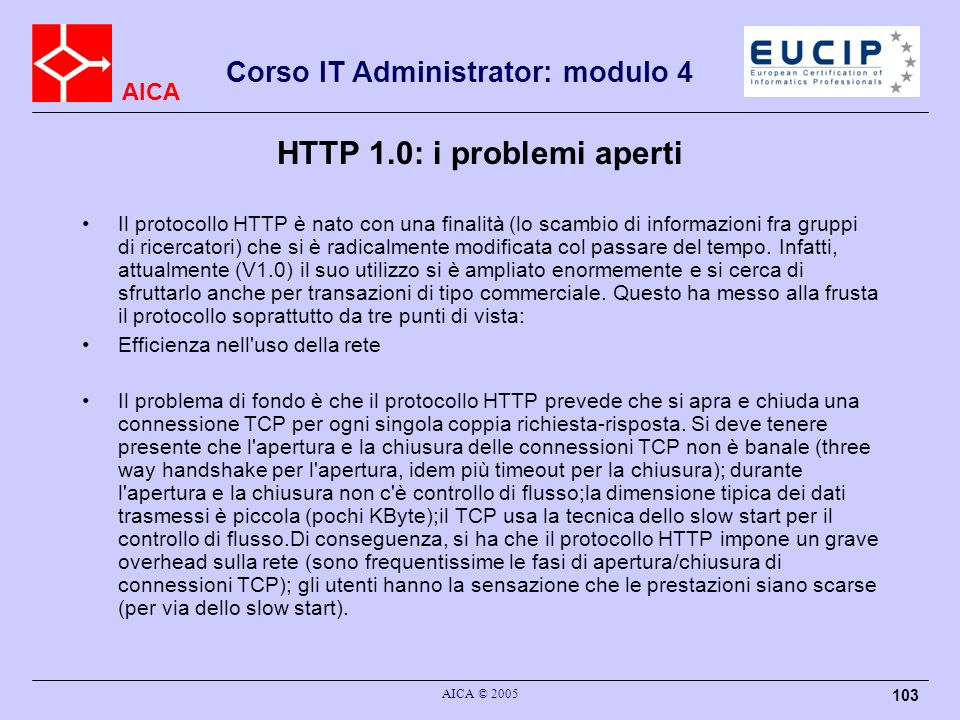HTTP 1.0: i problemi aperti