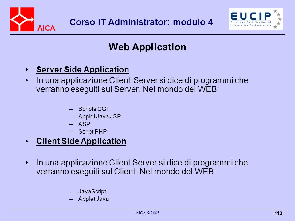 Web Application Server Side Application