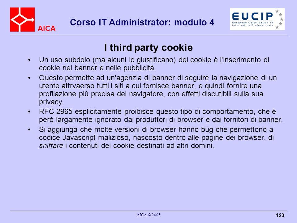 I third party cookie Un uso subdolo (ma alcuni lo giustificano) dei cookie è l inserimento di cookie nei banner e nelle pubblicità.