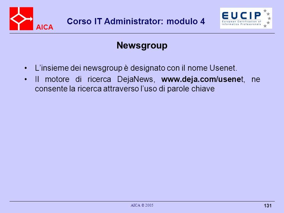 Newsgroup L'insieme dei newsgroup è designato con il nome Usenet.