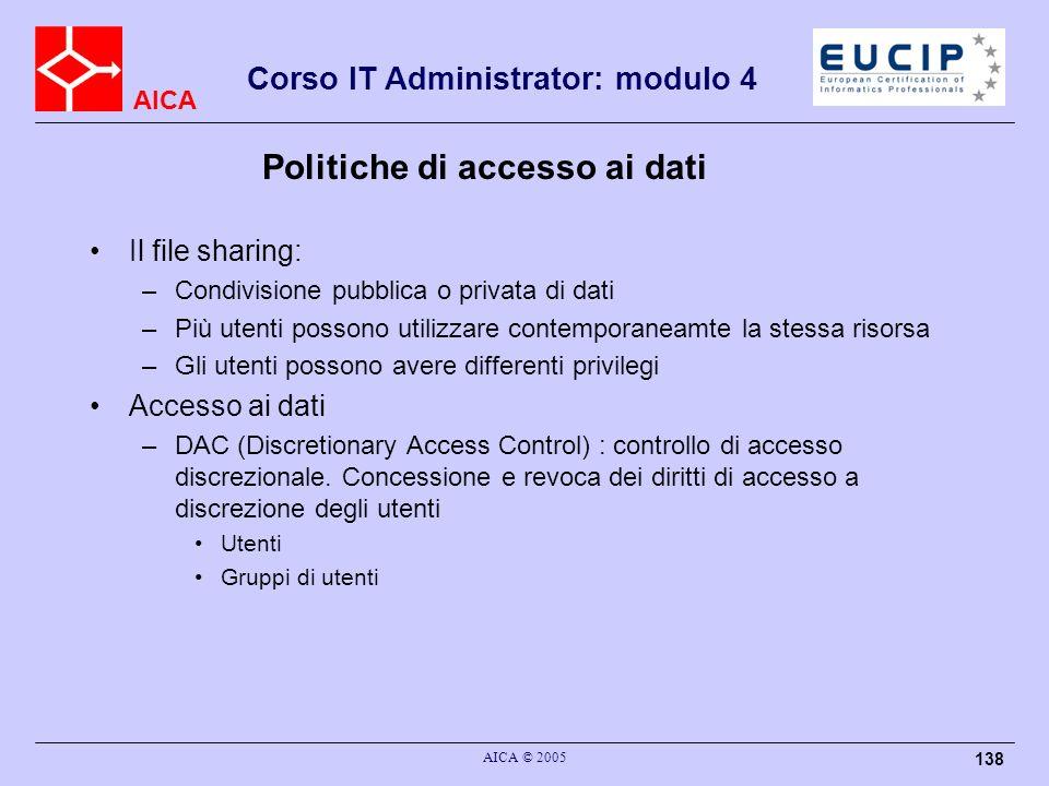 Politiche di accesso ai dati