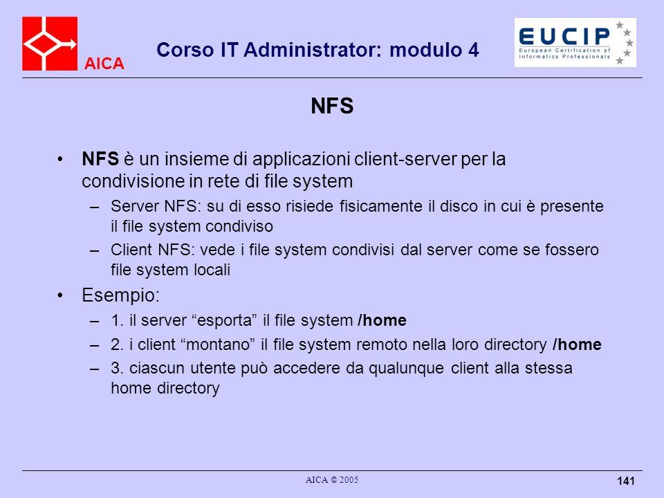 NFS NFS è un insieme di applicazioni client-server per la condivisione in rete di file system.