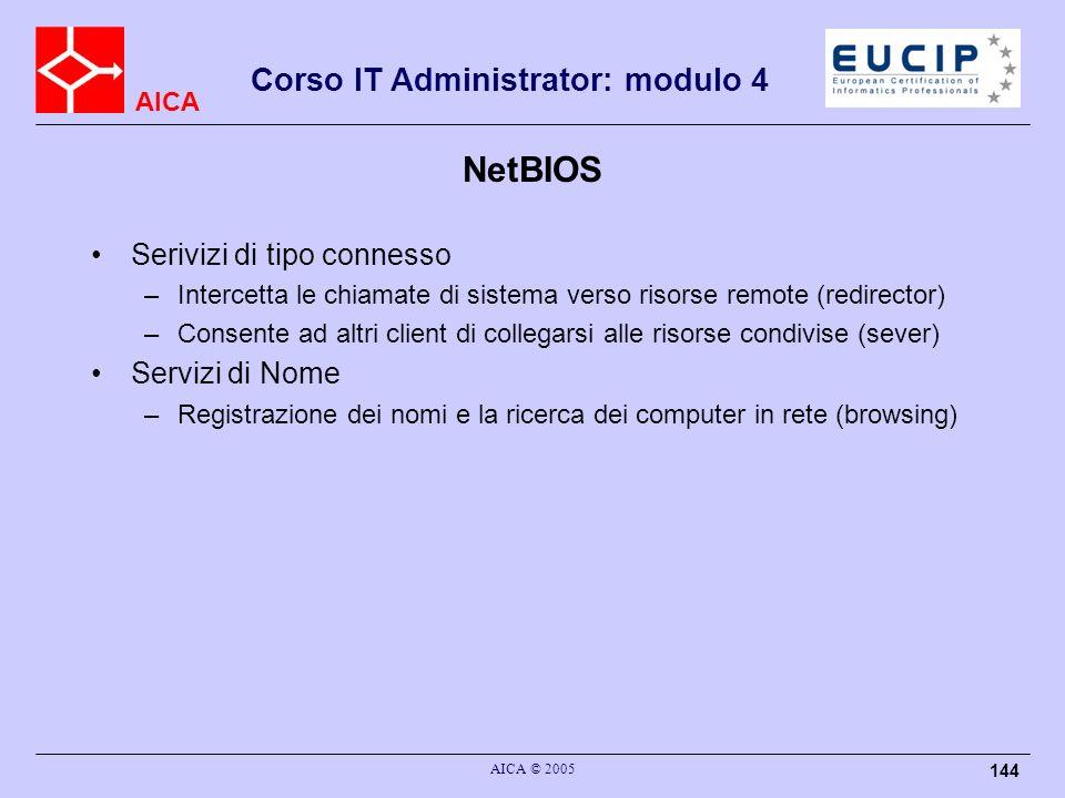 NetBIOS Serivizi di tipo connesso Servizi di Nome