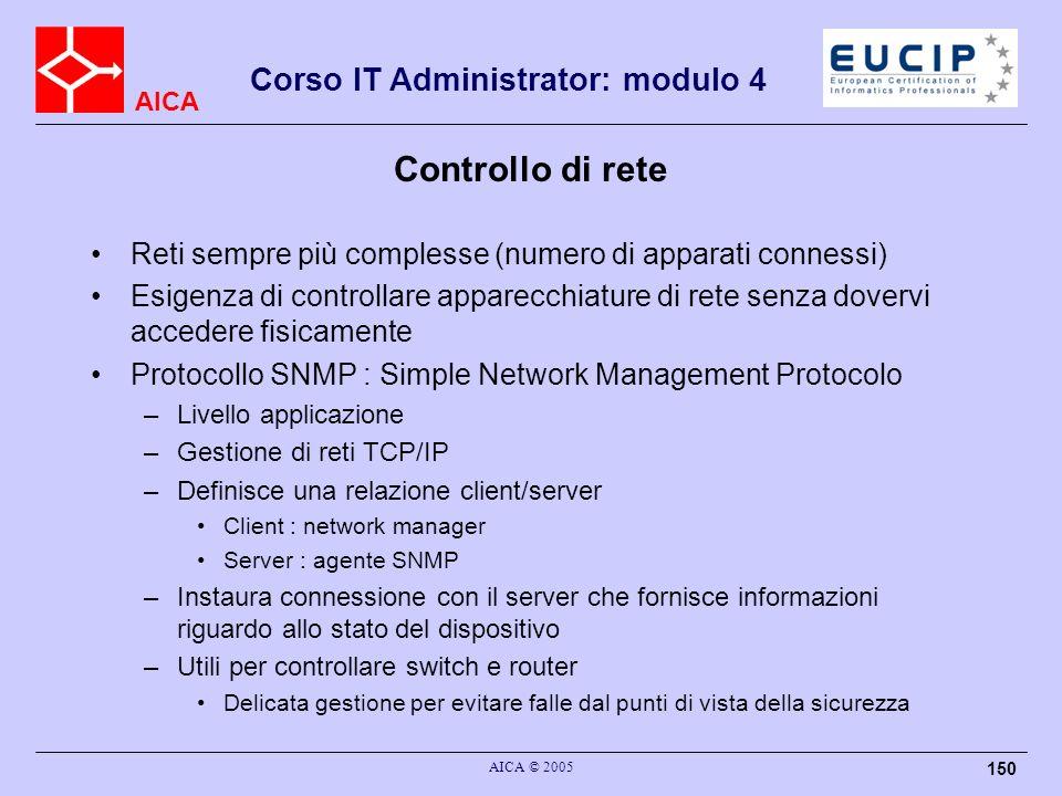 Controllo di rete Reti sempre più complesse (numero di apparati connessi)