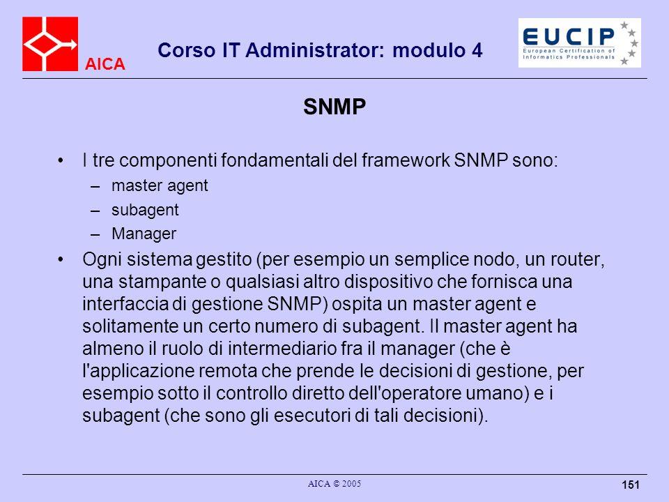 SNMP I tre componenti fondamentali del framework SNMP sono: