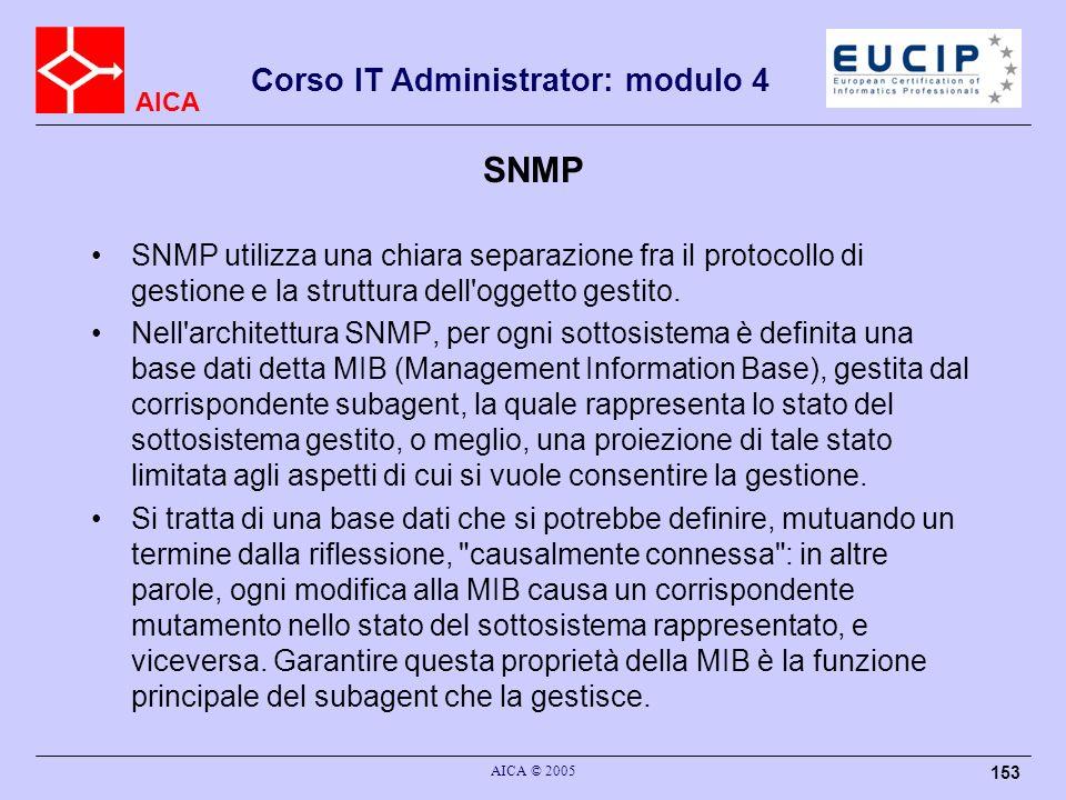 SNMP SNMP utilizza una chiara separazione fra il protocollo di gestione e la struttura dell oggetto gestito.