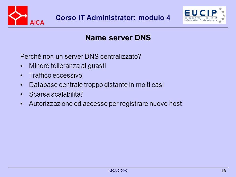 Name server DNS Perché non un server DNS centralizzato