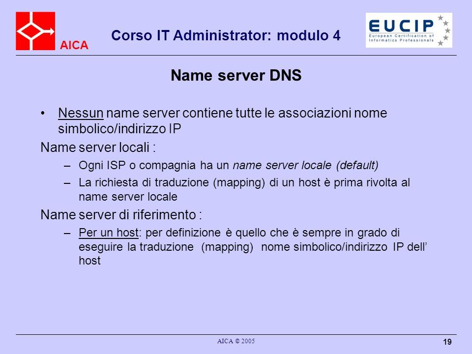 Name server DNS Nessun name server contiene tutte le associazioni nome simbolico/indirizzo IP. Name server locali :
