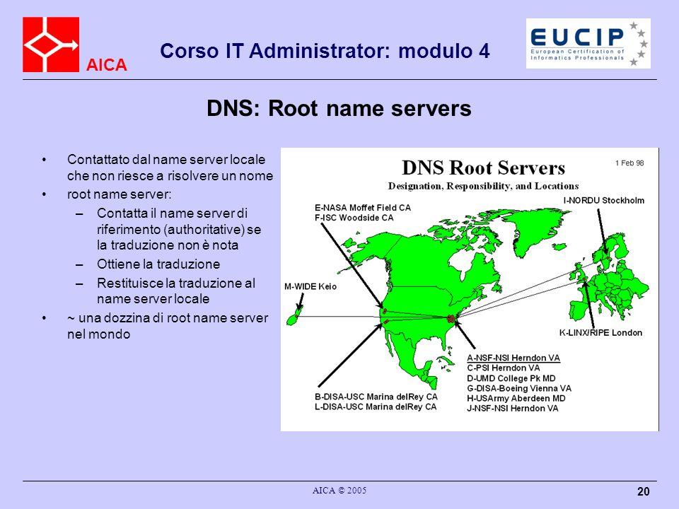 DNS: Root name servers Contattato dal name server locale che non riesce a risolvere un nome. root name server: