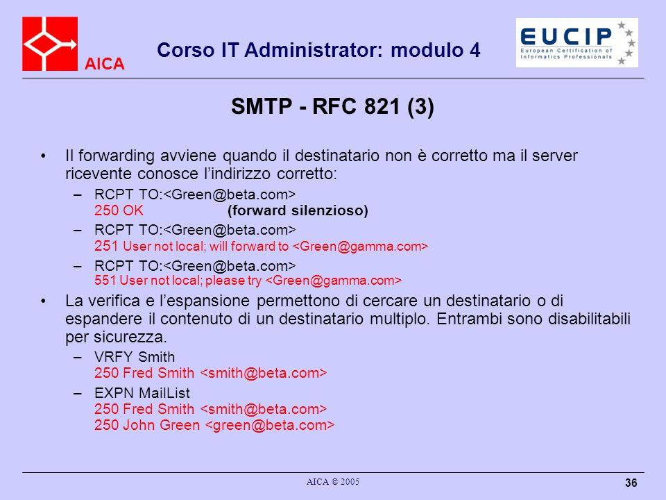 SMTP - RFC 821 (3) Il forwarding avviene quando il destinatario non è corretto ma il server ricevente conosce l'indirizzo corretto: