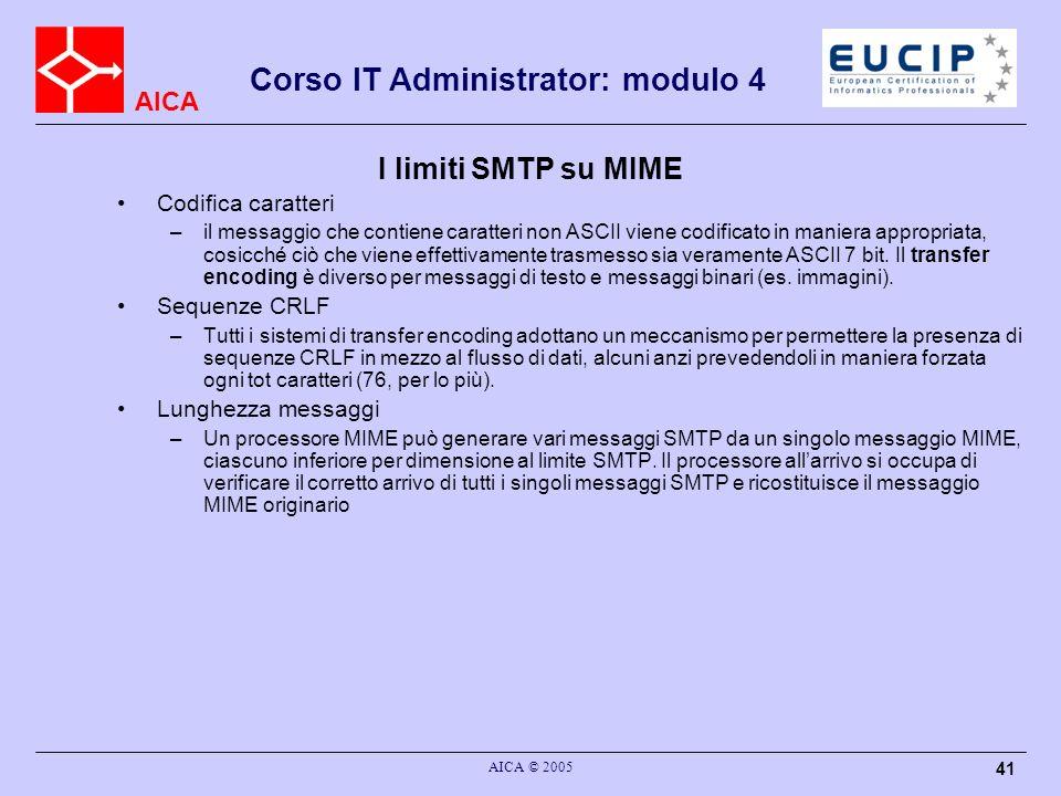 I limiti SMTP su MIME Codifica caratteri Sequenze CRLF