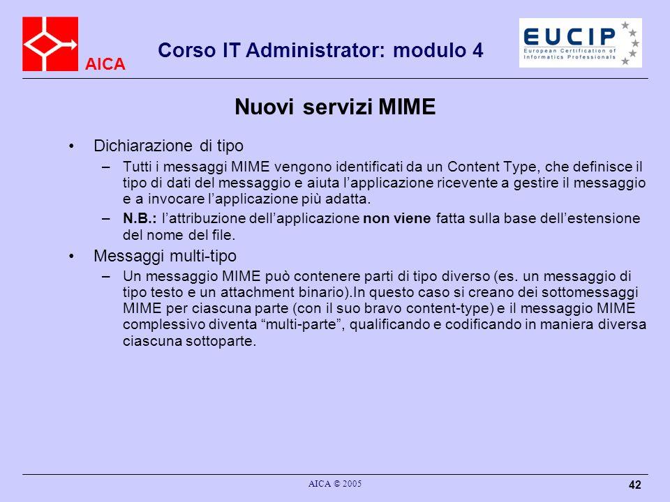 Nuovi servizi MIME Dichiarazione di tipo Messaggi multi-tipo