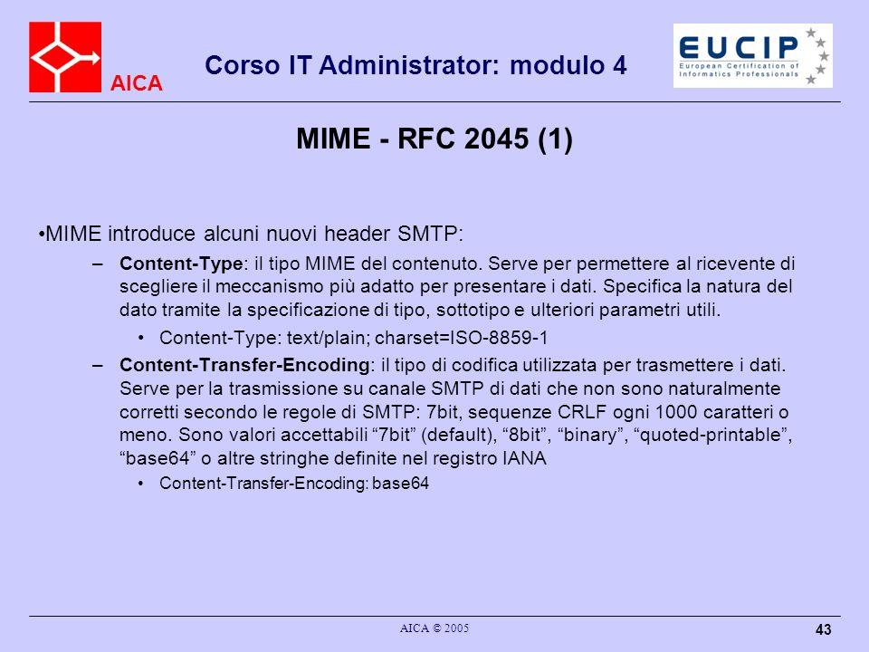 MIME - RFC 2045 (1) MIME introduce alcuni nuovi header SMTP: