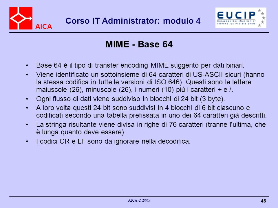 MIME - Base 64 Base 64 è il tipo di transfer encoding MIME suggerito per dati binari.