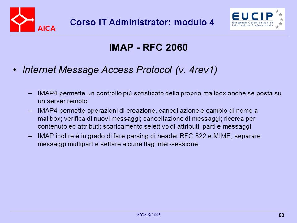 Internet Message Access Protocol (v. 4rev1)