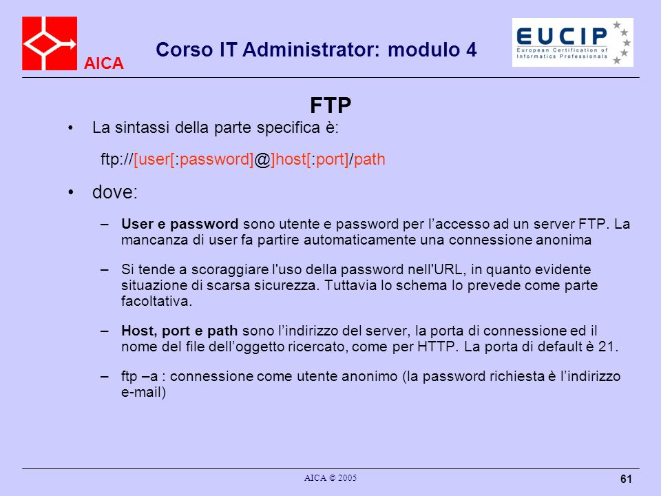 FTP dove: La sintassi della parte specifica è: