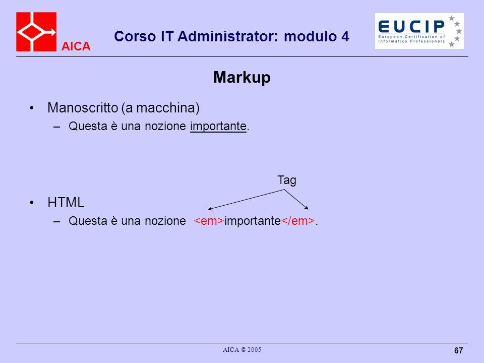 Markup Manoscritto (a macchina) HTML Questa è una nozione importante.